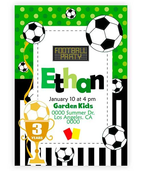 Vectorial Invitation Card For Children S Birthday Football