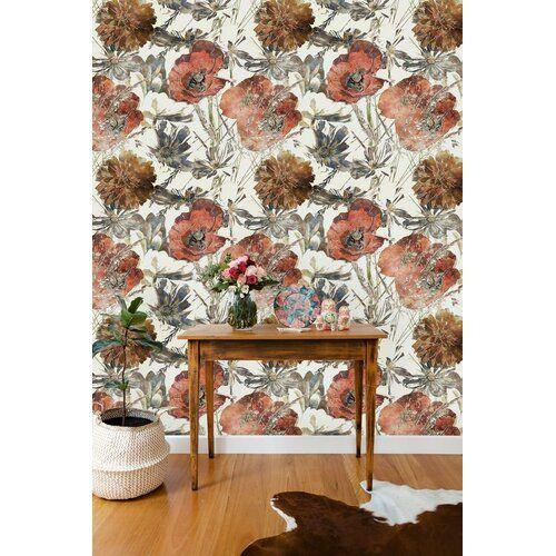 Brockton Removable Poppy Flower 6 25 L X 25 W Peel And Stick Wallpaper Roll In 2021 Peel And Stick Wallpaper Wallpaper Roll Wallpaper