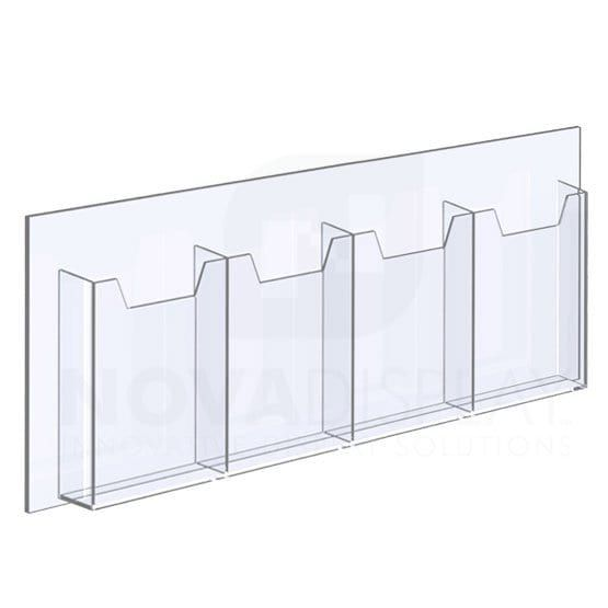 Acrylic Leaflet Dispenser Four Pocket Insert Size 6 5 W X 8 5 H Bi Fold With 1 4 Base In 2020 Clear Acrylic Bi Fold Brochure Brochure Holders