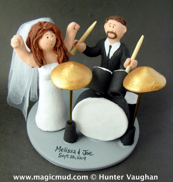 Rock and Roll Wedding Cake Topper    Drumming Groom Wedding Cake Topper, custom created for you! Perfect for the marriage of a Drummer Groom and his Bride!    $235   #magicmud   1 800 231 9814   www.magicmud.com