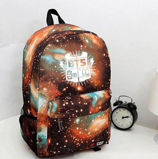 Kpop Korean Pop BTS Bangtan Boys Fire Nebula Cosmic Space Print Backpack bag school trendy