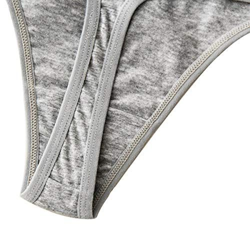 Buankoxy 6 Pack Womens Multicolored Panties Thongs Cotton Underwear Low Rise Bikini G-Strings