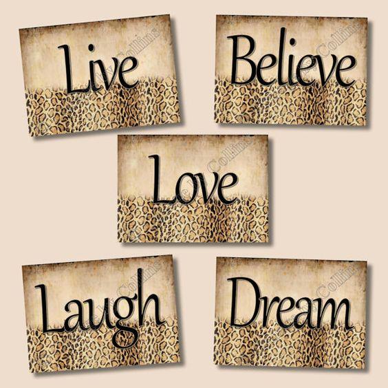 Live Laugh Love Dream Quotes: Cheetah Leopard Print Wall Art Decor Girls Room