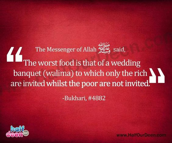 You Are Not Invited To Our Wedding: Invite The Poor To Your Walima/nikah! Your Wedding Is A