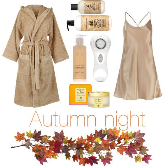 Autumn night by pinkcedar on Polyvore featuring polyvore, beauty, Clarisonic, Aromatherapy Associates, Acqua di Parma, Bumble and bumble, Harrods, Emanuel Ungaro and Nearly Natural