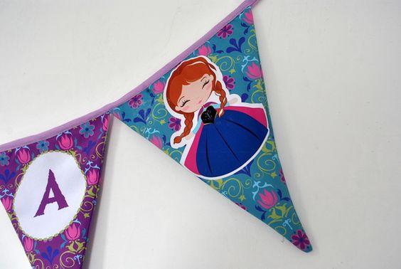 Bandeirolas de tecido personalizadas Frozen, pode personalizar com nome e tema.