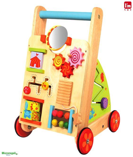 Carrellino MULTIATTIVITA' in Legno cm 36x35x53 h per bambini. Primi Passi. Età 18 Mesi. I'm Toy. - Tricicli, Primi Passi, Cavalli a Dondolo - Regali per i BAMBINI I'm Toy sono giochi e giocattoli prodotti in Thailandia, sono Eco Friendly poiche' utilizzano legno di alta qualita' degli alberi della gomma che non sono piu' produttivi e vengono quindi abbattuti. In questo modo si da nuova vita al legno.