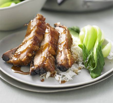 Chinese braised belly pork with greens