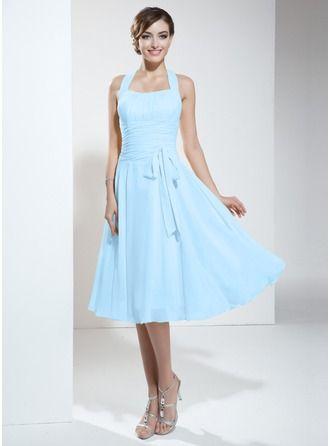 Halter Empire Knee-length Chiffon Bridesmaid Dress With Ruffle Bow(s)
