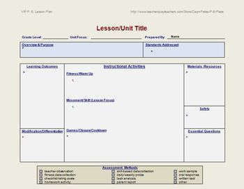 Physical Education Lesson Plan Template | Lesson plan templates ...