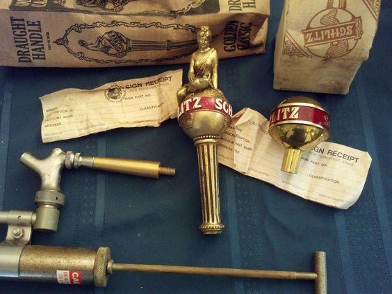vintage schlitz tap handle was