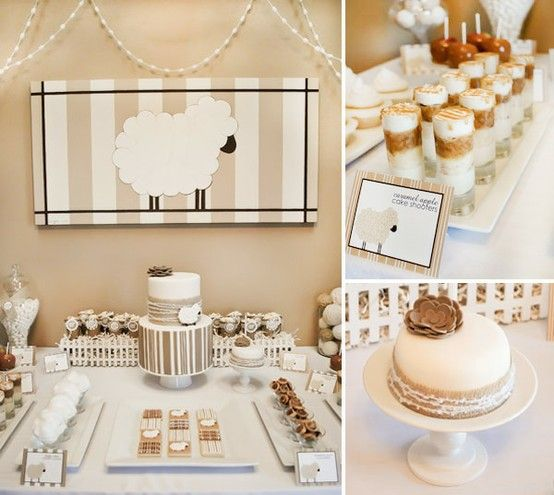 Nature Themed Baby Shower: Natural Tone Sheep Theme Baby Shower. I Like The Sheep