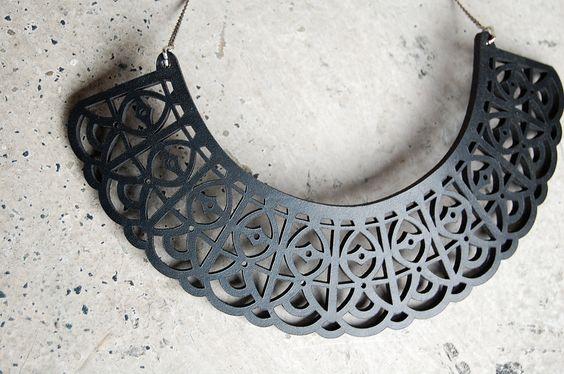 Black Leather lace Necklace Bib - laser cut black leather.. $72.00, via Etsy.