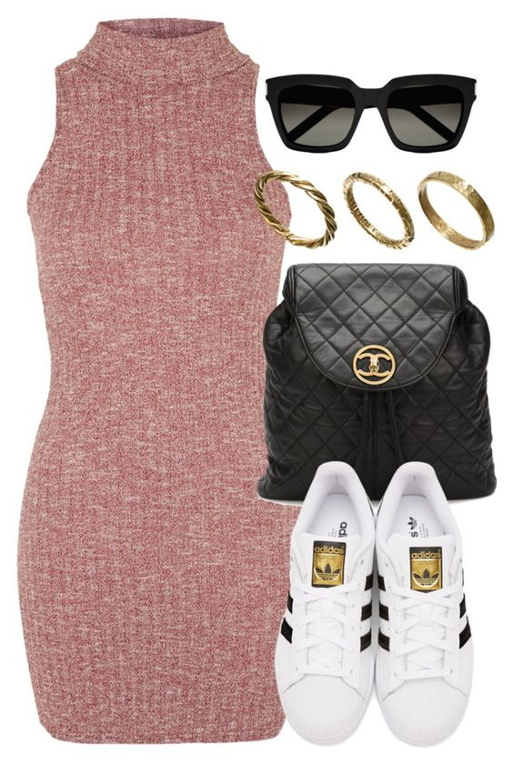 """""""Style #11173"""" by vany-alvarado ❤ liked on Polyvore featuring Topshop, Chanel, adidas Originals, Yves Saint Laurent and Made"""