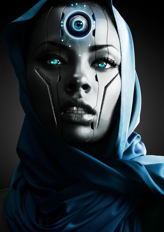 # cyberpunk, robot girl, cyborg, futuristic, android, sci-fi, science fiction, cyber girl, digital art: