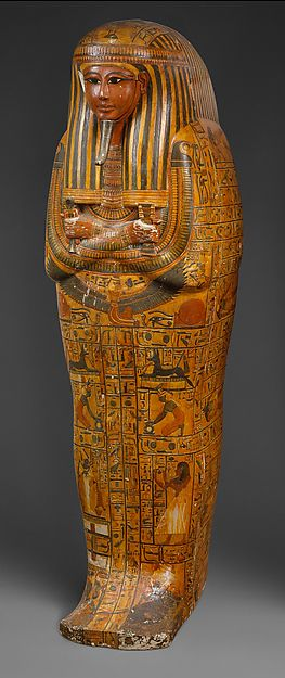 Outer Coffin of Khonsu Period: New Kingdom, Ramesside Dynasty: Dynasty 19 Reign: reign of Ramesses II Date: ca. 1279–1213 B.C. Geography: From Egypt, Upper Egypt, Thebes, Deir el-Medina, Tomb of Sennedjem (TT 1),: