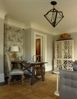 J. Hirsch Interior Design Portfolio - eclectic - home office -  - by Janie K. Hirsch, ASID --- like the crown molding corners