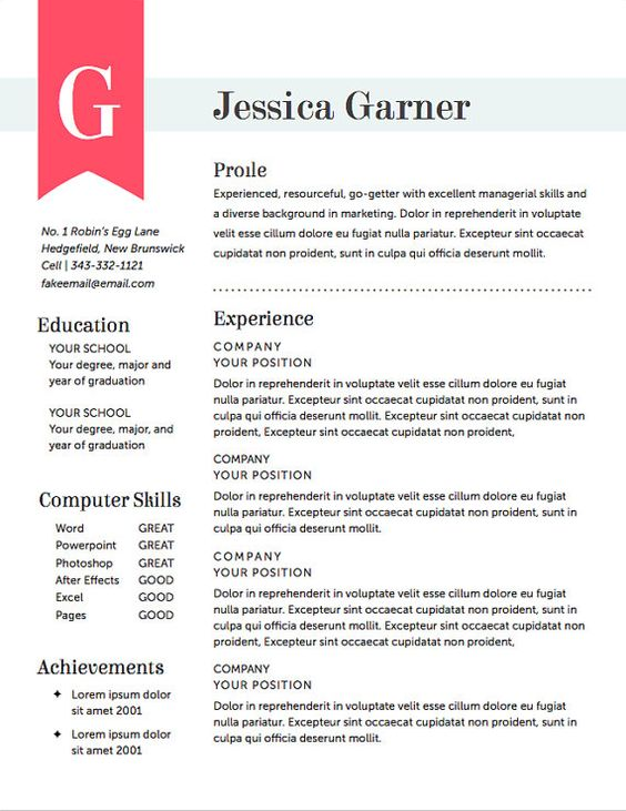 LOVE! great resume designBlue Highlight Resume + Cover Letter - landscape resume samples