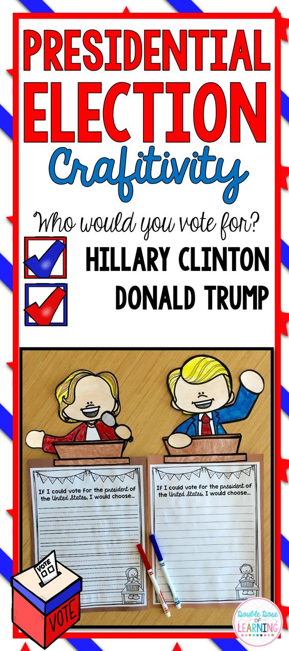 2016 Presidential Election writing prompt and craft with Donald Trump and Hillary Clinton. Perfect for teaching about the candidates of the election in first grade, second grade and third grade.