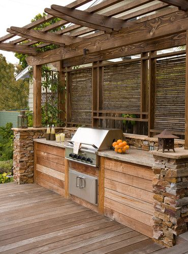 Built In Grill Design- like the location of girll & privacy. May do different wood/stone though.