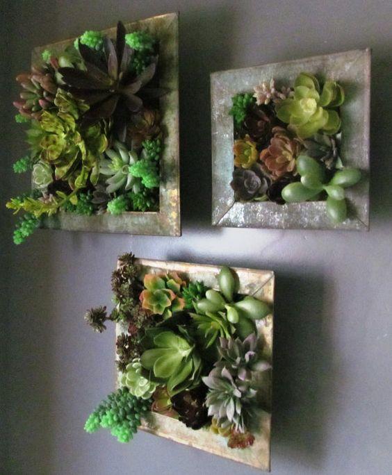 Vertical succulent gardens in custom made wooden for How to make a vertical garden frame