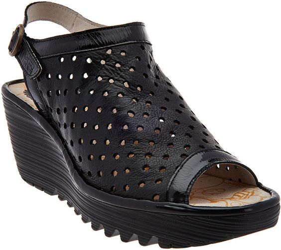 Image result for FLY London Perforated Peep-toe Wedge Sandals - Yile Perf