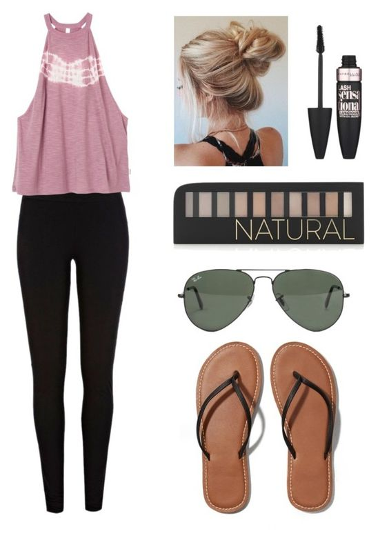 """""""Outfit #57"""" by mystics10 ❤ liked on Polyvore featuring River Island, RVCA, Abercrombie & Fitch, Ray-Ban, Forever 21 and Maybelline"""
