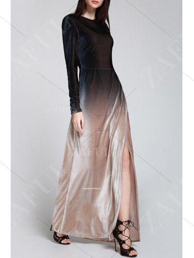 Side Slit Long Sleeves Gradient Color Dress - BLACK S Mobile