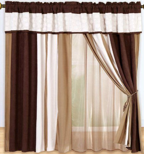 Luxury Brown, White Micro Suede Circle Patchwork Window Curtain ...