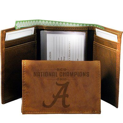 Alabama Crimson Tide 2012 BCS National Champions Embossed Leather Tri-Fold Wallet