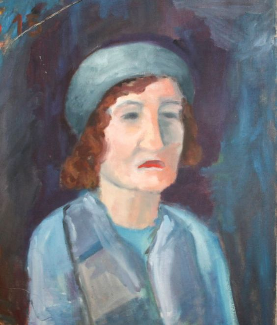 Female portrait vintage expressionist oil painting #Expressionism