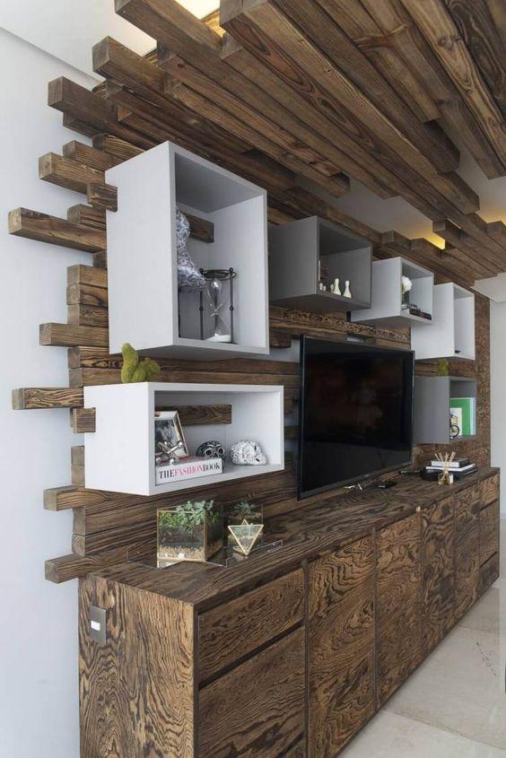 Plafond bois à LED et meubles massifs- lu0027appartement design