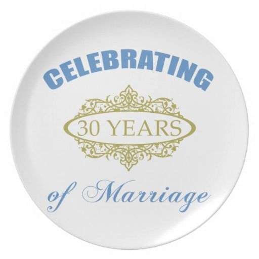 Wedding Anniversary Gifts 30 Years: Celebrating 30 Years Of Marriage Dinner Plates, 30th