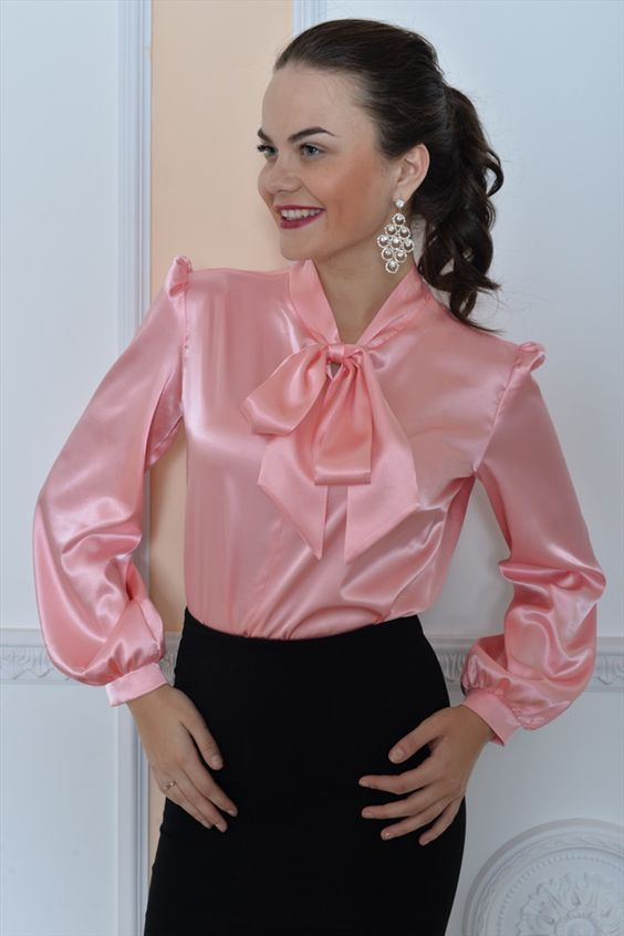 Satin bow blouse fetish