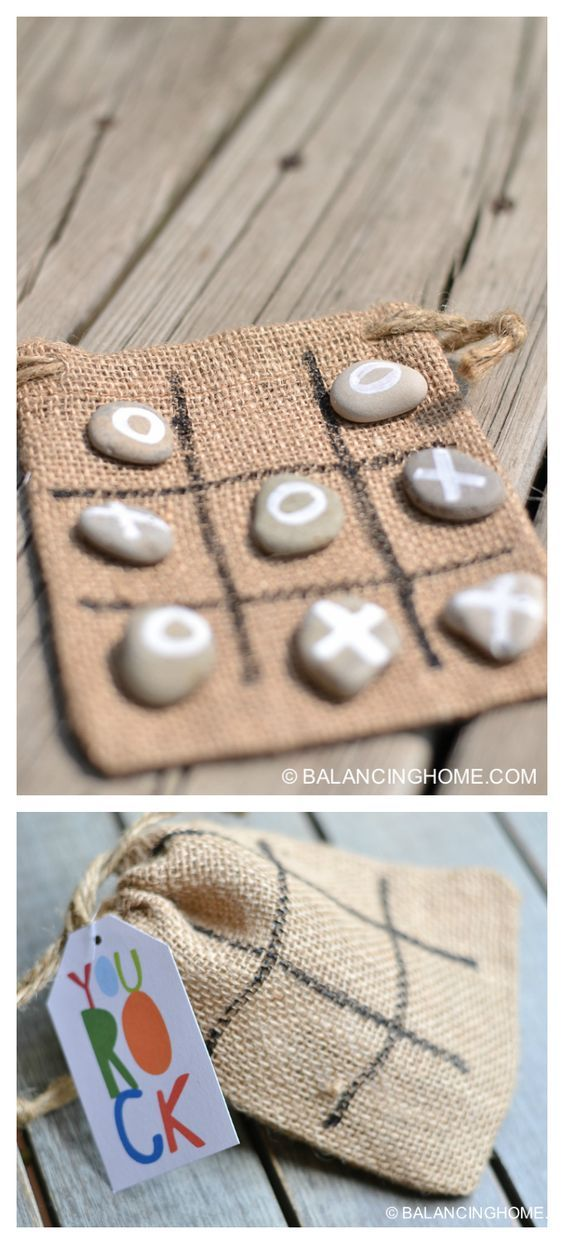 Steine bemalen als Tic Tac Toe Spiel - als Mitbringsel oder für Autofahr Spiel für die Sommerferien *** DIY Tic Tac Toe Rocks Activity or Gift