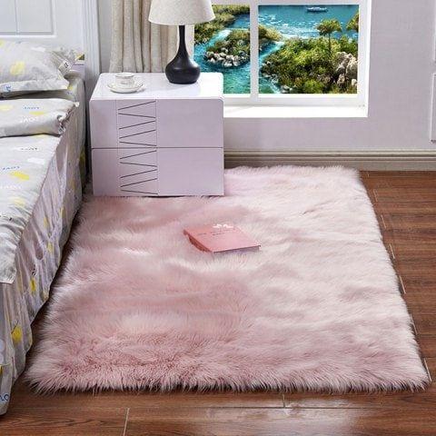 Faux Wool Leather Sofa Carpet Mat Bedroom Long Blanket Rugs In Living Room Living Room Carpet Room Carpet