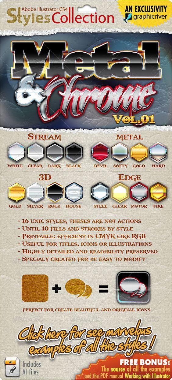 Illustrator Styles Collection: Metal & Chrome #01