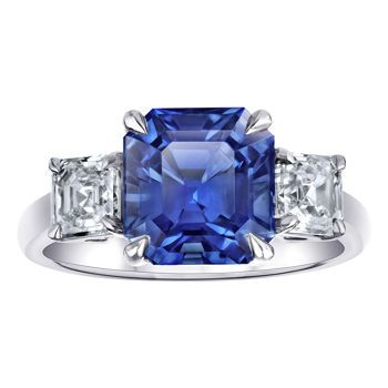 Square Emerald Cut Blue Sapphire & Diamond Platinum Ring