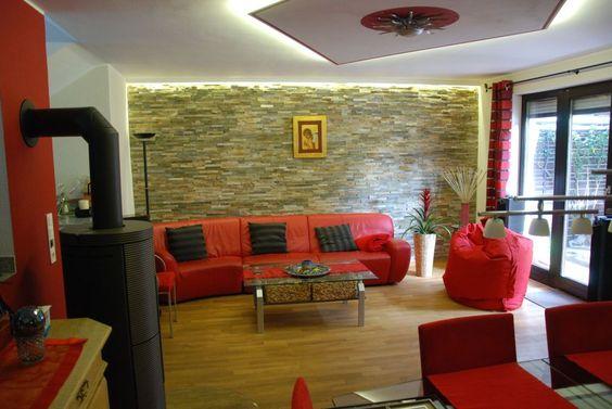 Wohnzimmer-Steinwand-Beleuchtung-97jpg (968×648) Haus - wohnzimmer mit steinwand