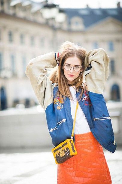 Jewels: the blonde salad, chiara ferragni, top blogger lifestyle, choker necklace, fashion week 2016, paris fashion week 2016, black choker, bomber jacket, satin bomber jacket, quilted skirt - Wheretoget
