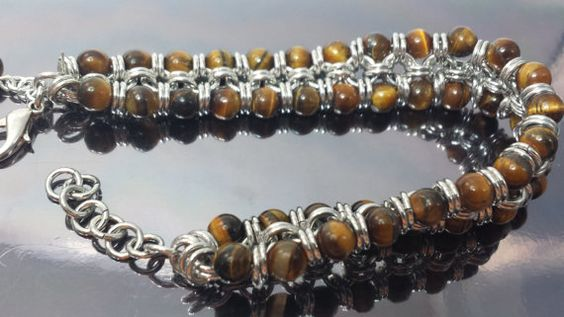 Tiger Eye bracelet cuff made with Japanese 8-in-2 by JoyasSuri