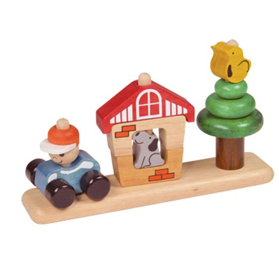 Woufi le chien est là pour garder la maison pendant que son maître part travailler.    Ce puzzle en 3d pour enfants de 18 mois et plus possède 11 pièces faciles à prendre en main. Interchangeables et empilables sur 3 plots.    L :30 cm. H : 19 cm.       28,00 € http://www.lafolleadresse.com/jouets/3788-autour-du-jardin.html