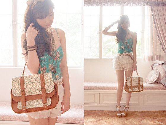 S.O.A. Wrap Around Suede Bracelet With Gold Chain, Forever 21 Green Floral Bodice, Wagw White Bloomers, Tonic Peach Floral Satchel, Whistle Necklace, Asian Vogue Brown Wedges, Belt With Lace Overlay