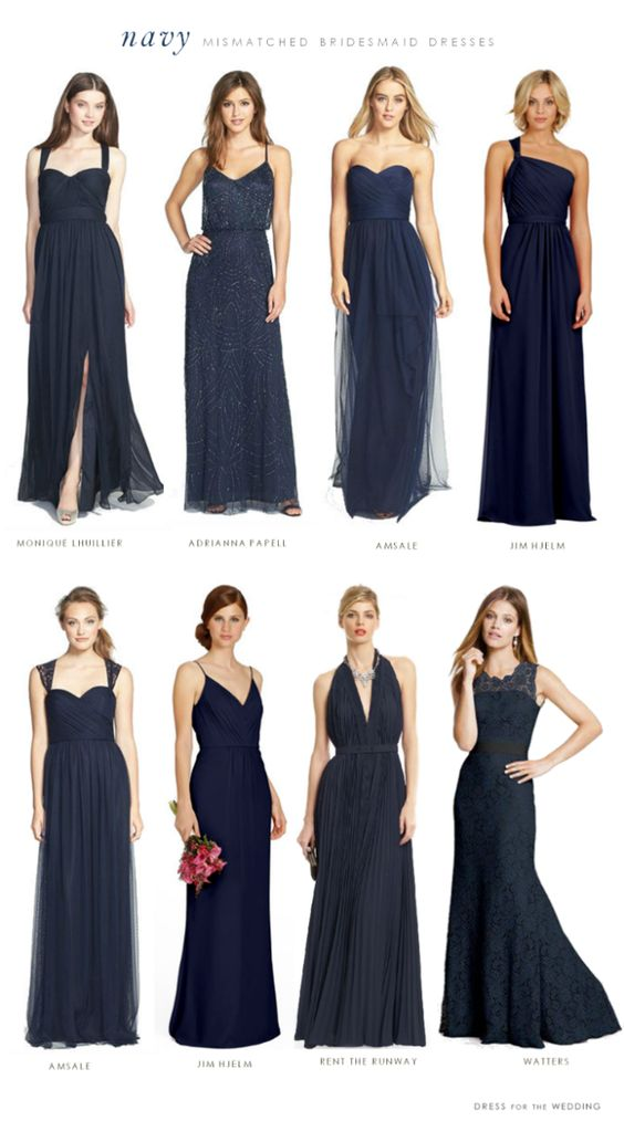 Love these picks from @dressforwedding for navy bridesmaids dresses! Ash- the one holding flowers has a cute dress
