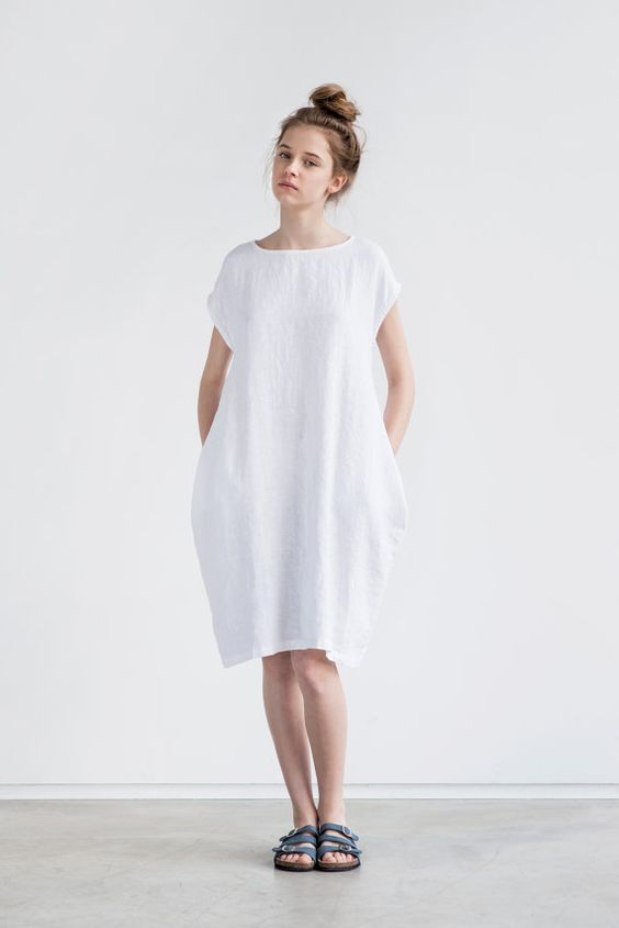 White linen cocoon dress with short or 3/4 sleeves. perfect light summer dress