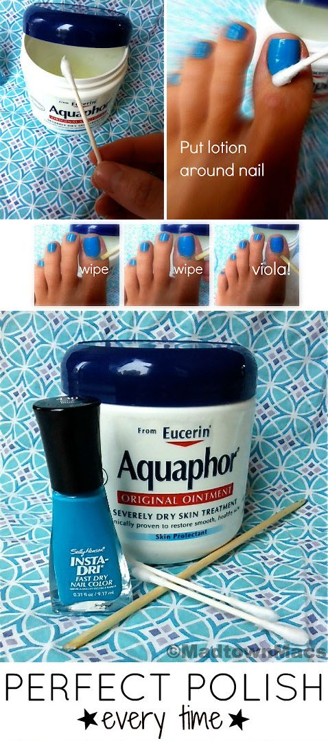 Apply Aquaphor or Vaseline to cuticles to protect your skin from errant nail polish strokes. It works!!