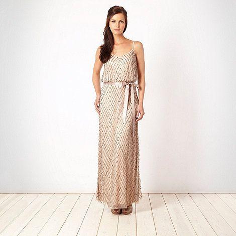 Debut Peach diagonal sequinned maxi dress- at Debenhams.ie