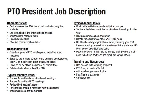 14 best images about PTA President on Pinterest Nonprofit - vice president job description