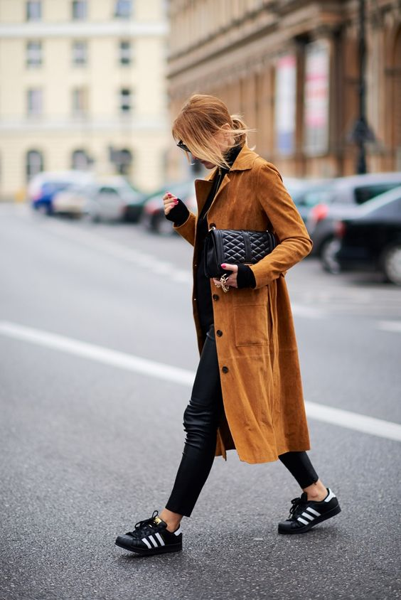 long suede coat with sneakers