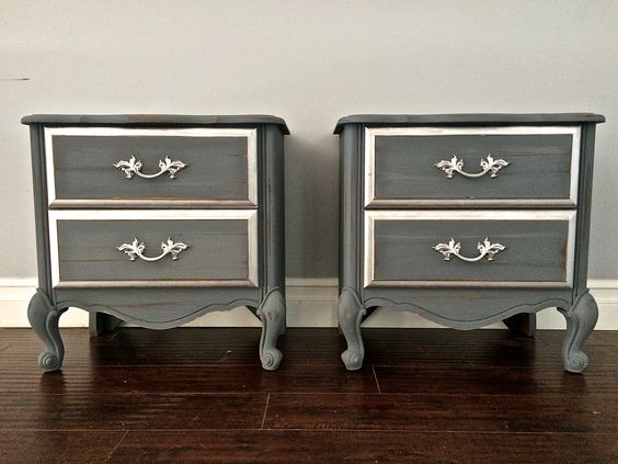 Shabby Chic Gray & Silver Leaf End Tables / Nightstands - $200 - SOLD